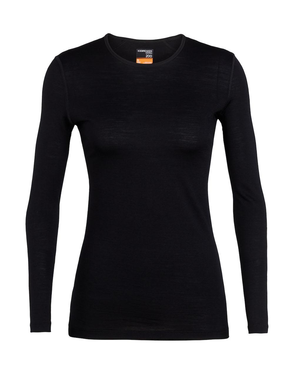 Merino 200 Oasis Langarmshirt Damen Black, Vorderansicht
