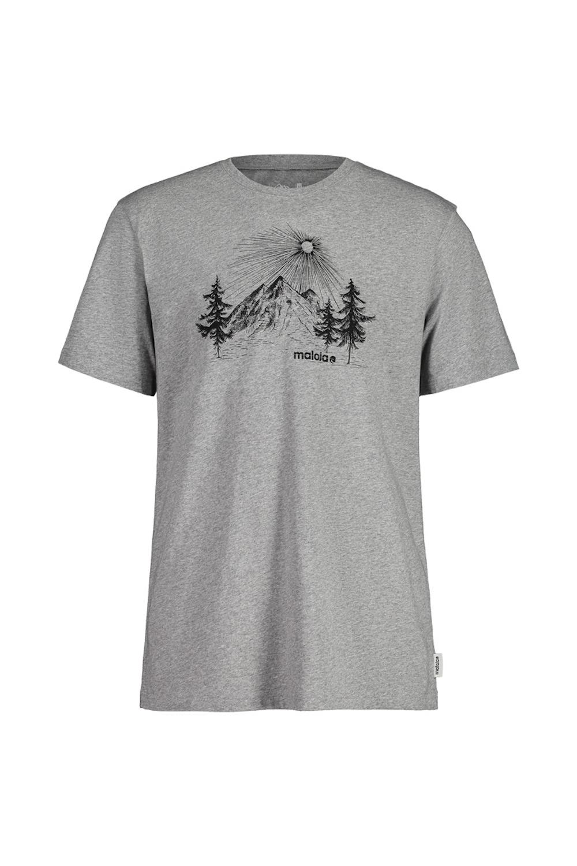 Maloja WeinbirneM. Grey Melange T-Shirt, Vorderansicht